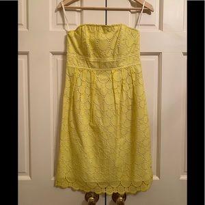 Soshanna Yellow Eyelet Strapless Dress